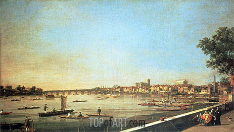 London, the Thames at Westminster and Whitehall from the Terrace of Somerset House, c.1750/51 | Canaletto | Painting Reproduction