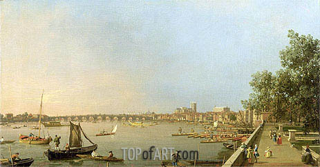 The Thames from the Terrace of Somerset House, looking upstream Towards Westminster and Whitehall, c.1750 | Canaletto | Painting Reproduction