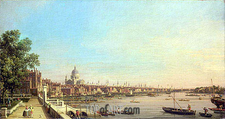 The Thames from the Terrace of Somerset House Looking Towards St. Paul's, c.1750 | Canaletto | Gemälde Reproduktion