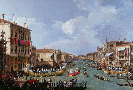 Regatta on the Grand Canal, c.1735 | Canaletto | Painting Reproduction