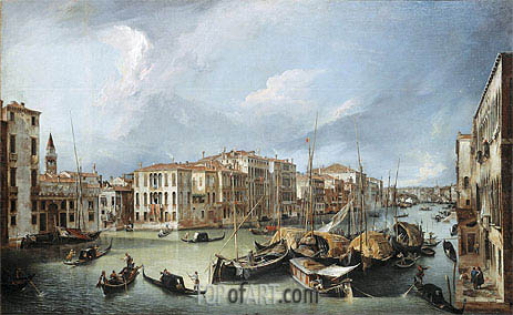 Grand Canal in Venice with the Rialto Bridge, c.1726/30 | Canaletto | Painting Reproduction