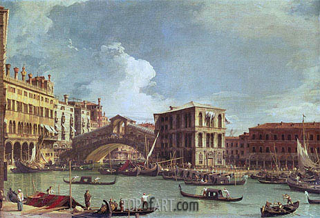 The Rialto Bridge, Venice, North, undated | Canaletto | Painting Reproduction