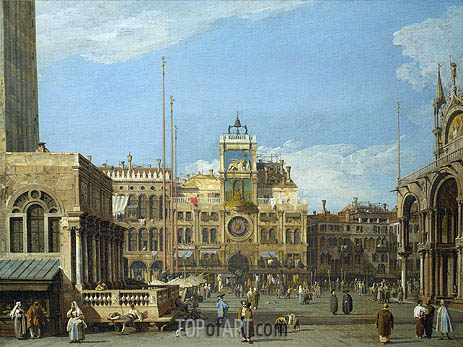 The Clock Tower in the Piazza San Marco, c.1728/30 | Canaletto | Painting Reproduction