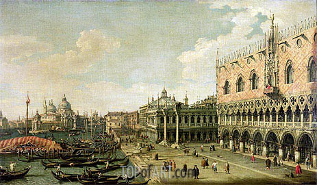 View of the Molo Looking Towards the Entrance of the Grand Canal, Venice, undated | Canaletto | Painting Reproduction