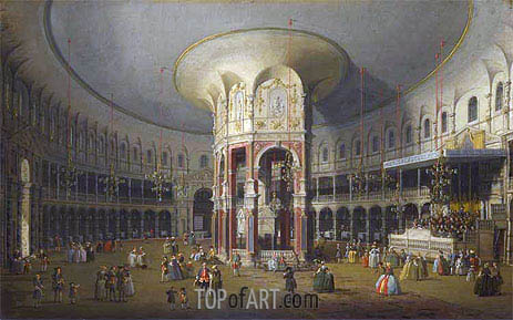 London: Interior of the Rotunda at Ranelagh, 1754 | Canaletto | Painting Reproduction