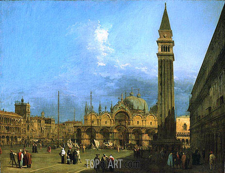 Venice: Piazza St. Marco with the Basilica and Campanile, c.1725 | Canaletto | Painting Reproduction