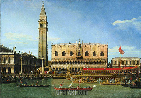 The Bucintoro at the Molo on Ascension Day, c.1745 | Canaletto | Painting Reproduction