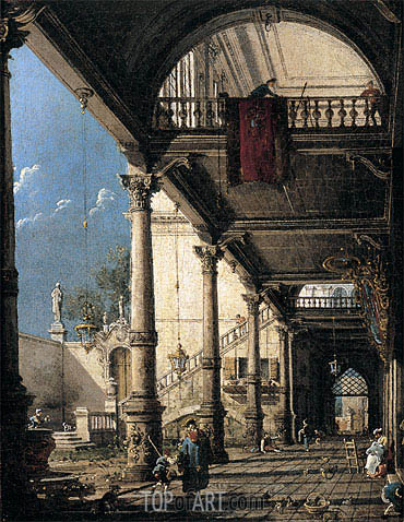 Capriccio with Colonnade in the Interior of a Palace, c.1765 | Canaletto | Painting Reproduction