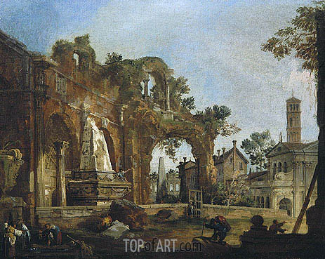 Rome: A Caprice View with Ruins Based on the Forum, c.1726 | Canaletto | Painting Reproduction