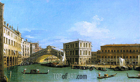 The Rialto Bridge from the North, c.1726/27 | Canaletto | Painting Reproduction