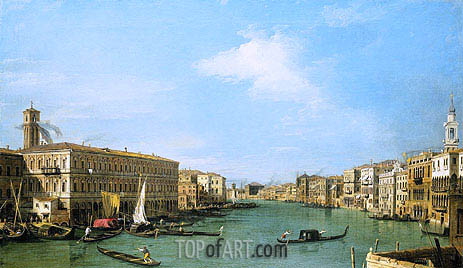 The Grand Canal Looking North-West from near the Rialto, c.1726/27 | Canaletto | Painting Reproduction