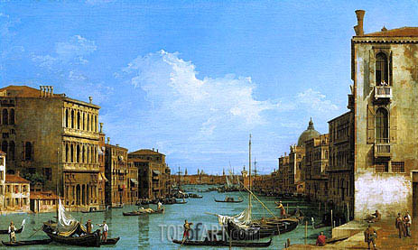 The Grand Canal Looking East from Campo San Vio towards the Bacino, c.1727/28 | Canaletto | Gemälde Reproduktion