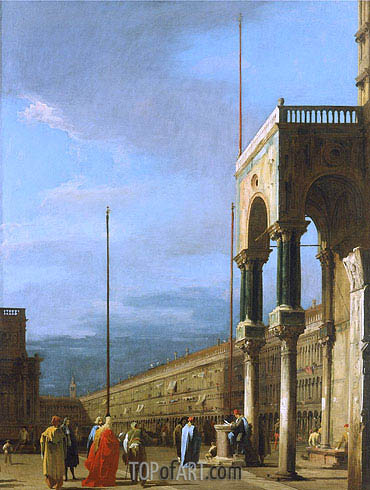 Venice: Piazza San Marco from a Corner of the Basilica, c.1726/28 | Canaletto | Painting Reproduction
