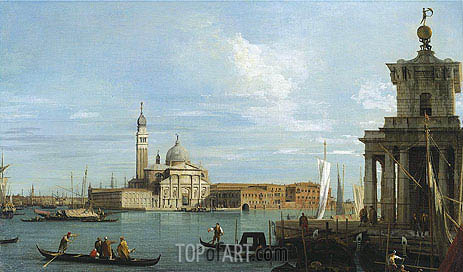 Venice: The Molo towards the Dogana and St. Maria della Salute, c.1735 | Canaletto | Painting Reproduction
