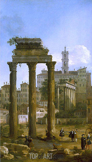 Rome: The Ruins of the Forum looking towards the Capitol, 1742 | Canaletto | Painting Reproduction