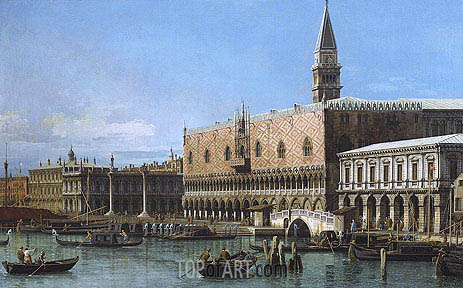 Venice: The Molo with the Prisons and the Doges' Palace, 1743 | Canaletto | Painting Reproduction