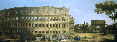 Rome: View of the Colosseum and the Arch of Constantine, 1743 | Canaletto | Painting Reproduction