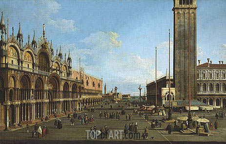 Venice: The Piazza and Piazzetta from the Torre dell'Orologio towards St. Giorgio, 1744 | Canaletto | Painting Reproduction