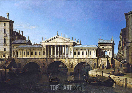 Venice: Caprice View with Palladio's Design for the Rialto, 1744 | Canaletto | Painting Reproduction