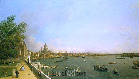 London: The Thames from Somerset House Terrace towards the City, c.1746/50 | Canaletto | Painting Reproduction