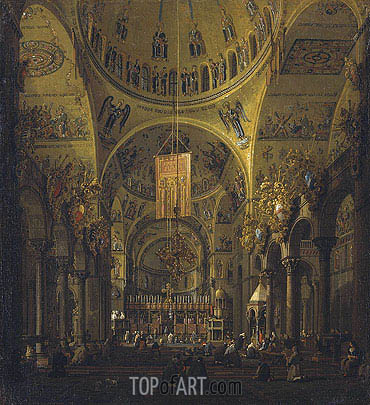 Venice: The Interior of St. Marco by Day, c.1755/56 | Canaletto | Painting Reproduction