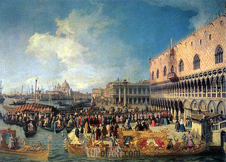 Reception of the Imperial Ambassador at the Doge's Palace, 1729 | Canaletto | Painting Reproduction