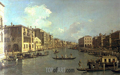 Grand Canal from the Campo Santa Sofia towards the Rialto Bridge, c.1758 | Canaletto | Painting Reproduction