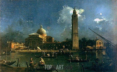 Night Time Celebration Outside the Church of San Pietro di Castello, c.1758 | Canaletto | Painting Reproduction