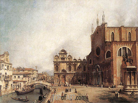 Santi Giovanni e Paolo and the Scuola di San Marco, c.1725 | Canaletto | Painting Reproduction