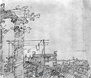 A View of Roofs: Landscape Sketch, c.1740 | Canaletto | Gemälde Reproduktion