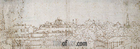 A Panorama of a Village: Sketch of a Building, c.1742 | Canaletto | Gemälde Reproduktion