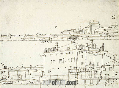 Two Views of Waterfronts, undated | Canaletto | Painting Reproduction