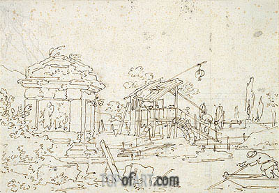 A Water Wheel: Studies of Roofs, undated   Canaletto   Painting Reproduction