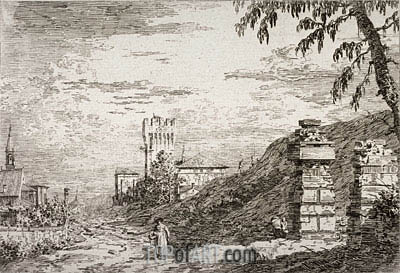 Landscape with Tower and Two Ruined Pillars, undated | Canaletto | Painting Reproduction