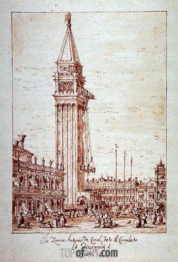 Piazzetta with Campanile under Construction, undated | Canaletto | Painting Reproduction