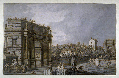 View of the Arch of Constantine and Environs, Rome, c.1758/65 | Canaletto | Painting Reproduction