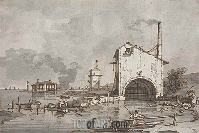 Capriccio: House and Tower on a Lagoon, undated | Canaletto | Painting Reproduction