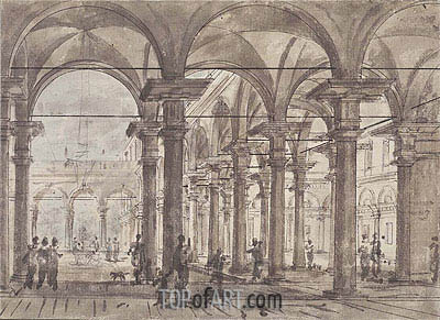 Architectural Design (Piazza with Open Colonnade), undated | Canaletto | Painting Reproduction