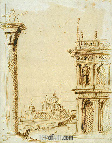 The Piazzetta Looking towards Santa Maria della Salute, c.1726 | Canaletto | Gemälde Reproduktion