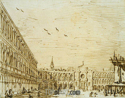 The Piazza Looking West, c.1725 | Canaletto | Painting Reproduction