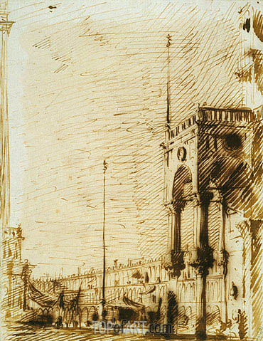 The Piazza Looking North-West with the Narthex of San Marco, c.1725 | Canaletto | Gemälde Reproduktion