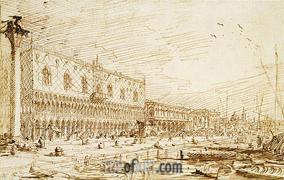 The Molo and Riva degli Schiavoni Looking East, 1729 | Canaletto | Painting Reproduction