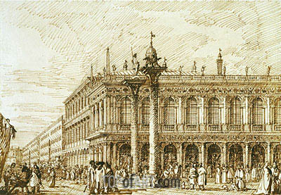 The Libreria and Molo, c.1734 | Canaletto | Painting Reproduction