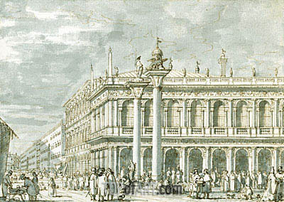Venice the Libreria from the Molo, c.1734 | Canaletto | Painting Reproduction