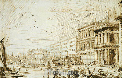 The Molo Looking West, 1729 | Canaletto | Gemälde Reproduktion