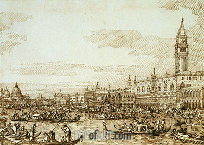 The Bacino Looking West on Ascension Day, c.1734 | Canaletto | Painting Reproduction