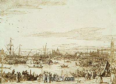 The Bacino Looking West, c.1734   Canaletto   Painting Reproduction