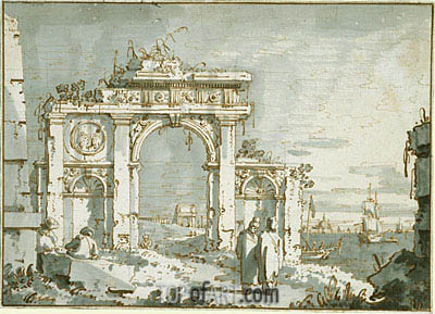 A Capriccio of a Ruined Arch on the Shores of a Lagoon, c.1740/45 | Canaletto | Gemälde Reproduktion