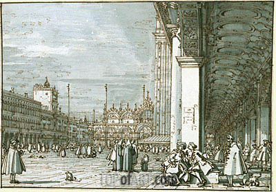 The Piazza Looking North-East from the Procuratie Nuove, c.1745 | Canaletto | Painting Reproduction
