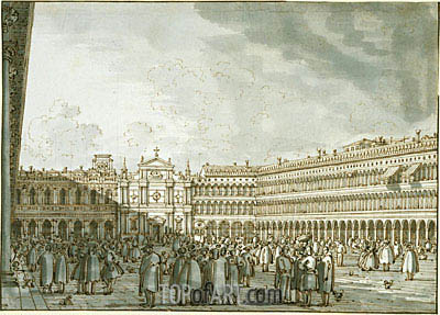 The Piazza Looking West from the Procuratie Nuove, c.1745 | Canaletto | Painting Reproduction